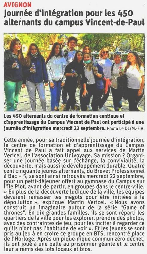 Article journal Vaucluse matin